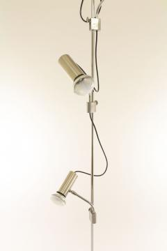 Italian chrome floor lamp with three spots and a marble base 1970s - 1092449
