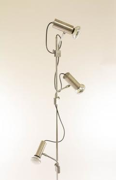Italian chrome floor lamp with three spots and a marble base 1970s - 1092450