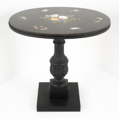 Italian grand tour pietra dura oval table top on cast iron base - 1706615