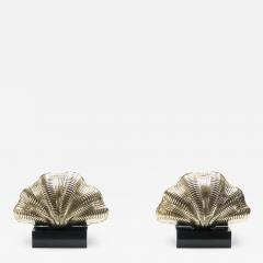 Italian mid century Solid Brass Scallop table lamps 1960s - 1073635