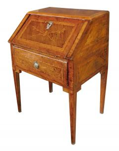 Italian neoclassical style marquetry inlaid fruitwood drop front desk - 1992459