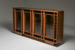 Italian oak sideboard with glass doors and space for bottles 1970s - 1638288