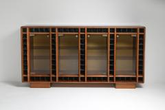 Italian oak sideboard with glass doors and space for bottles 1970s - 1638289