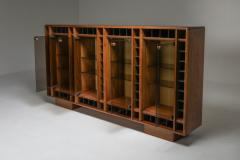 Italian oak sideboard with glass doors and space for bottles 1970s - 1638290
