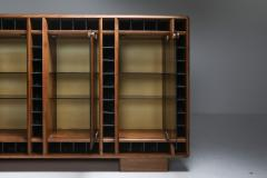 Italian oak sideboard with glass doors and space for bottles 1970s - 1638294