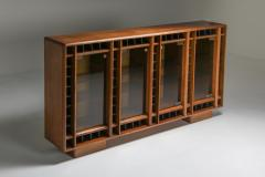 Italian oak sideboard with glass doors and space for bottles 1970s - 1638295