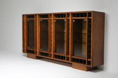Italian oak sideboard with glass doors and space for bottles 1970s - 1638297