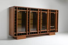 Italian oak sideboard with glass doors and space for bottles 1970s - 1638299