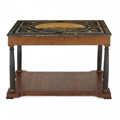 Italian partly ebonised walnut coffee table with scagliola top - 2003856