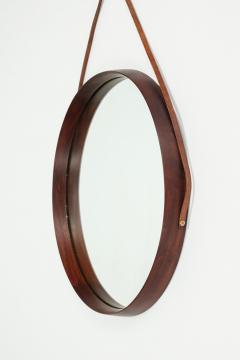 Italian round mirror mahogany leather 60s - 1937939