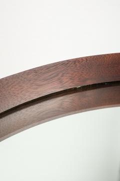 Italian round mirror mahogany leather 60s - 1937946
