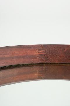 Italian round mirror mahogany leather 60s - 1937950