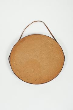 Italian round mirror mahogany leather 60s - 1937952