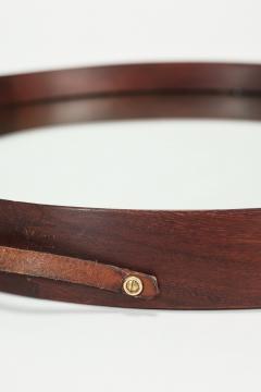 Italian round mirror mahogany leather 60s - 1937985