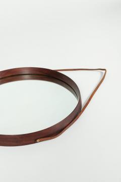 Italian round mirror mahogany leather 60s - 1937988