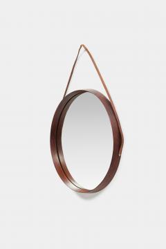 Italian round mirror mahogany leather 60s - 1937989