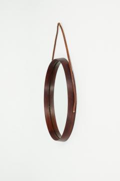 Italian round mirror mahogany leather 60s - 1937992