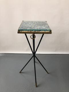 Italian side table bronze details supporting a blue Kyantine stone top - 1181352