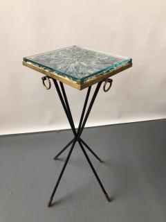 Italian side table bronze details supporting a blue Kyantine stone top - 1181356