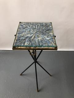 Italian side table bronze details supporting a blue Kyantine stone top - 1181357