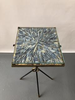 Italian side table bronze details supporting a blue Kyantine stone top - 1181358