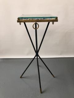 Italian side table bronze details supporting a blue Kyantine stone top - 1181359