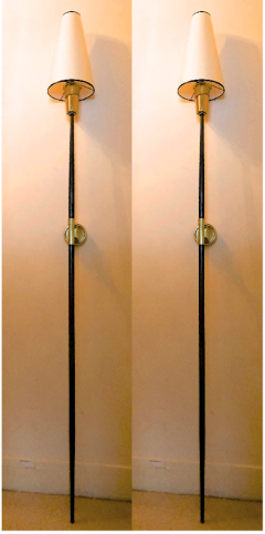 Italian stunning gold bronze and patinated iron pair of long torch sconces - 1477976
