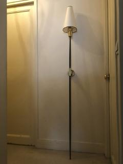 Italian stunning gold bronze and patinated iron pair of long torch sconces - 1477977