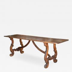 Italian walnut trestle table Circa 1850 - 1127508