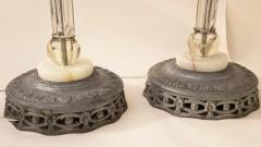 Italianate Lead Crystal Chandelier Floor Lamps Circa 1940 - 1162772