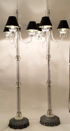 Italianate Lead Crystal Chandelier Floor Lamps Circa 1940 - 1162775