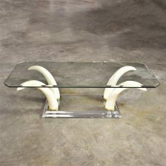 Italo Valenti Lucite acrylic glass faux tusk coffee cocktail table after maison jansen - 1682209