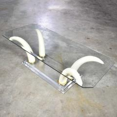 Italo Valenti Lucite acrylic glass faux tusk coffee cocktail table after maison jansen - 1682243