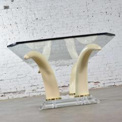 Italo Valenti Lucite acrylic glass faux tusk coffee cocktail table after maison jansen - 1682252