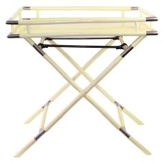 Ivory Lacquer Chrome Folding Bar Tray Table - 1640157