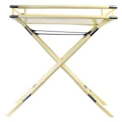 Ivory Lacquer Chrome Folding Bar Tray Table - 1640158