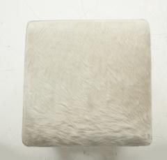 Ivory White Calfskin Ottomans - 780994