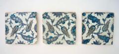 Iznik Pottery Tiles 17th Century Ottoman Turkey Set of Three - 2139420