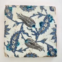 Iznik Pottery Tiles 17th Century Ottoman Turkey Set of Three - 2139425