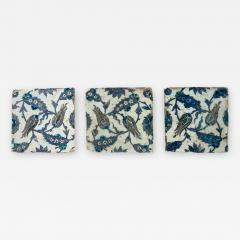 Iznik Pottery Tiles 17th Century Ottoman Turkey Set of Three - 2139454