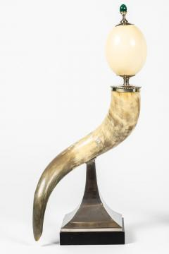 J Antony Redmile Pair of Decorative Horn and Ostrich Egg Garnitures by Antony Redmile - 1347824