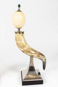 J Antony Redmile Pair of Decorative Horn and Ostrich Egg Garnitures by Antony Redmile - 1347835
