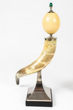 J Antony Redmile Pair of Decorative Horn and Ostrich Egg Garnitures by Antony Redmile - 1347837