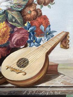 J Friedrich Jungling Floral Bouquet with Mandolin  - 1725535