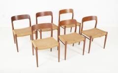 J L M llers M belfabrik Set Of Eight Danish Cord Seat Dining Chairs - 1826350