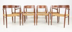 J L M llers M belfabrik Set Of Eight Danish Cord Seat Dining Chairs - 1826351