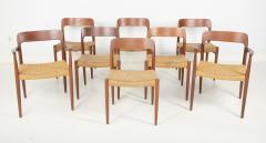 J L M llers M belfabrik Set Of Eight Danish Cord Seat Dining Chairs - 1826354