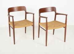 J L M llers M belfabrik Set Of Eight Danish Cord Seat Dining Chairs - 1826360