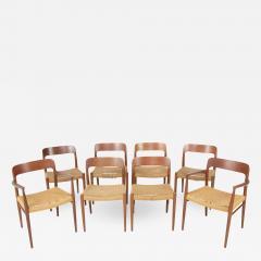 J L M llers M belfabrik Set Of Eight Danish Cord Seat Dining Chairs - 1827159