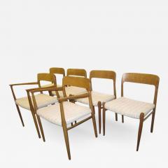 J L M llers M belfabrik Wonderful Set of Six J L Moller Teak Dining Chairs Danish Mid Century Modern - 1845730